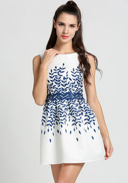 Leaves Print Skater Dress
