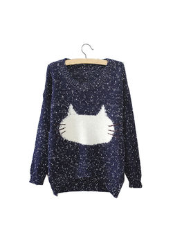 Navy  Kitty Face Pullover
