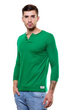 Wide V-neck henley tshirt