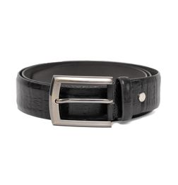 CROC PRINT GENUINE LEATHER MENS BELT BLACK