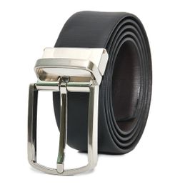 TEXTURED BLACK-BROWN LEATHER BELT WITH TURN BUCKLE