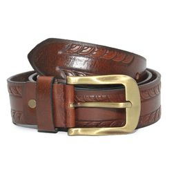 EMBOSSED PATTERN CASUAL LEATHER BELT IN TAN BROWN