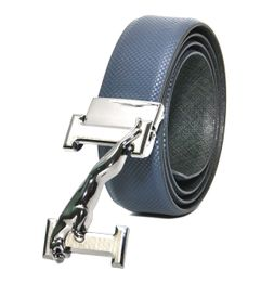 BLUE-GREEN LEATHER BELT WITH TURN BUCKLE