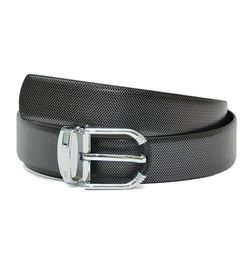 REVERSIBLE LEATHER BELT WITH DRESSY CHROME BUCKLE