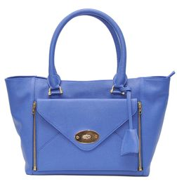 BLUE LEATHER TOTE BAG WITH ENVELOPE FRONT POCKET