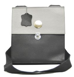 STYLISH GREY AND BLACK LEATHER SLING BAG