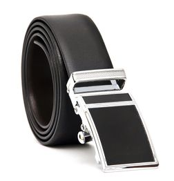 BUSINESS REVERSIBLE LEATHER BELT WITH STYLISH ABSOLUTE BLACK AUTO LOCK BUCKLE