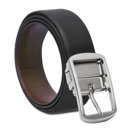 REVERSIBLE BLACK- BROWN LEATHER BELT WITH TURN BUCKLE