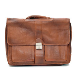 EXECUTIVE TAN BROWN LEATHER LAPTOP BAG