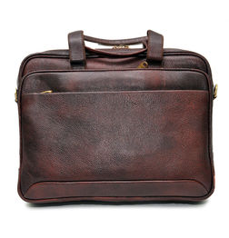 DARK BROWN LEATHER LAPTOP BAG