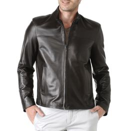 BLACK CLASSIC FIT FAUX LEATHER JACKET