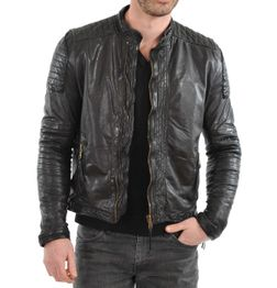 DESIGNER BLACK SLIM FIT FAUX LEATHER BIKER JACKET