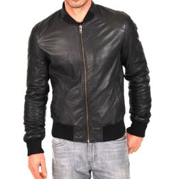 MEN'S BLACK FAUX LEATHER JACKET WITH COTTON RIBBED TRIM
