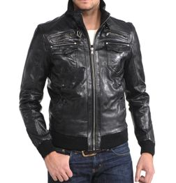 DESIGNER BLACK BIKER JACKET WITH COTTON RIBBED TRIM