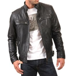 SLIM FIT BLACK LEATHER BIKER JACKET
