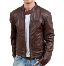 STYLISH BROWN FAUX LEATHER BIKER JACKET