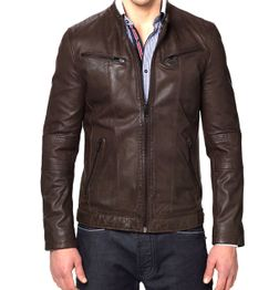 DESIGNER BROWN BIKER MEN'S GENUINE LEATHER JACKET