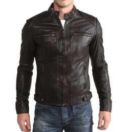 BLACK SLIM FIT FAUX LEATHER BIKER JACKET