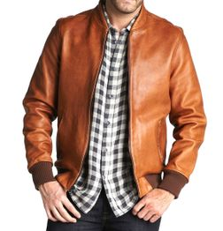 TAN BROWN LEATHER JACKET WITH COTTON RIBBED TRIM