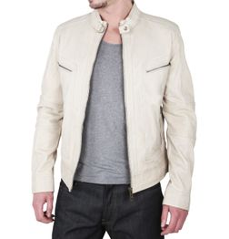 SLIM FIT IVORY LEATHER JACKET