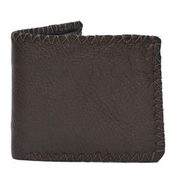 HIDEMARK VINTAGE STYLE TEXTURED LEATHER WALLET - DARK BROWN