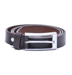 LEATHER BELT FOR WOMEN WITH RECTANGULAR BUCKLE- BROWN