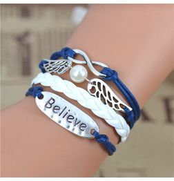 WOMEN'S GENUINE LEATHER BRACELET WITH CHARMS~ BELIEVE BLUE