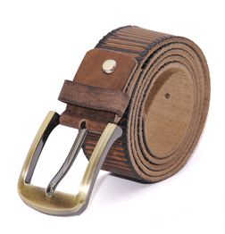 CASUAL LEATHER BELT WITH GOLDEN BUCKLE