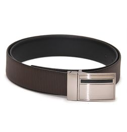 BUSINESS REVERSIBLE BLACK-BROWN LEATHER BELT WITH TURN BUCKLE