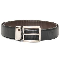 STRIPES REVERSIBLE LEATHER BELT WITH TURN BUCKLE