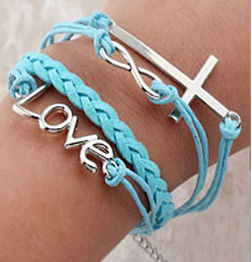 WOMEN'S GENUINE LEATHER BRACELET WITH CHARMS-BLUE