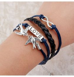 WOMEN'S GENUINE LEATHER BRACELET WITH CHARMS~ BLUE