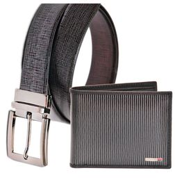 LEATHER BELT AND WALLET COMBO FOR MEN