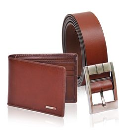 BROWN LEATHER BELT AND WALLET - GIFT FOR MEN