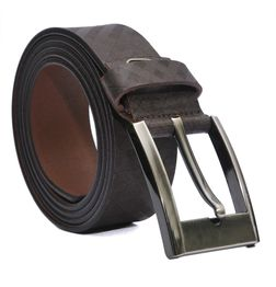 BROWN CHECKERED LEATHER BELT