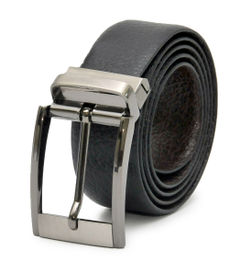 BUSINESS BLACK-BROWN REVERSIBLE LEATHER BELT WITH TURN BUCKLE