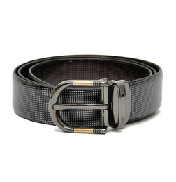 REVERSIBLE LEATHER BELT WITH DRESSY GREY-TONE BUCKLE