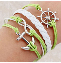 WOMEN'S GENUINE LEATHER BRACELET WITH CHARMS-GREEN