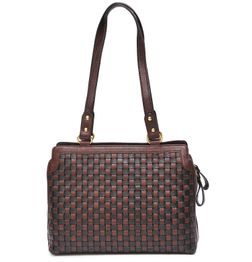 HIDEMARK HAND CRAFTED MESH PATTERN LEATHER HANDBAG