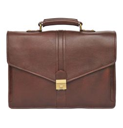 DARK BROWN LEATHER LAPTOP BAG V FLAP