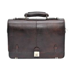 HIDEMARK COVER FLAP BROWN LEATHER LAPTOP BAG