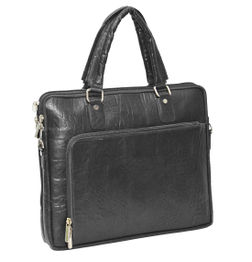 DESIGNER BLACK LEATHER LAPTOP BAG IN ELEPHANT EMBOSSED TEXTURE