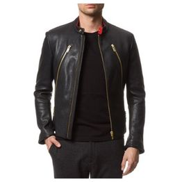 STYLISH BLACK BIKER FAUX LEATHER JACKET