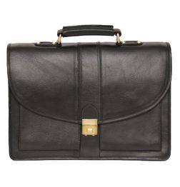 HIDEMARK BLACK LEATHER LAPTOP BAG ROUND FLAP