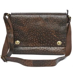 HIDEMARK LEATHER LAPTOP/TABLET/IPAD BAG OSTRICH PRINT BROWN - 11 inch