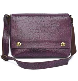 HIDEMARK LADIES LEATHER LAPTOP/TABLET/IPAD BAG OSTRICH PRINT PURPLE - 11 inch