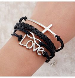 WOMEN'S GENUINE LEATHER BRACELET WITH LOVE CHARMS~ BLACK