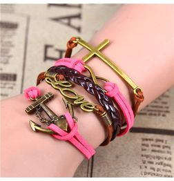 WOMEN'S GENUINE LEATHER BRACELET WITH CHARMS~ LOVE PINK