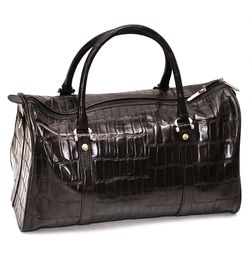 CROC PRINT BROWN LEATHER DUFFLE BAG
