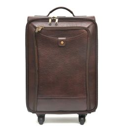 GRAIN LEATHER BROWN CABIN LUGGAGE WITH TROLLEY